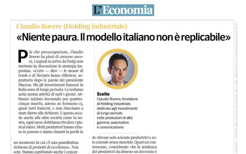 Intervista a Rovere - Corriere Economia